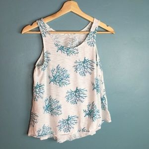 💛 Summer Shite and Blue Coral Pattern Tank Top L